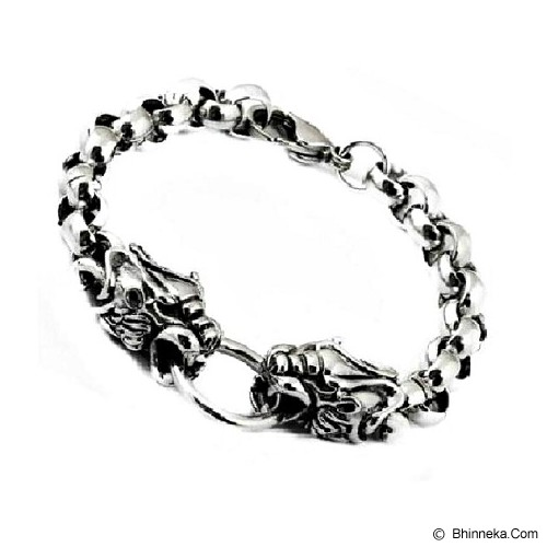 MEN'S JEWELRY Two Head Dragon Titanium Steel [DTB201212-NV14] - Silver - Gelang Pria