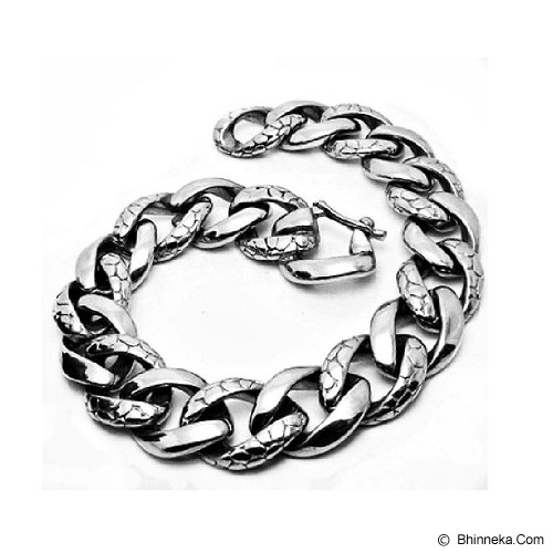 MEN'S JEWELRY Two Tone Carved Bracelet Titanium Steel [CTB201405-NV14] - Silver - Gelang Pria