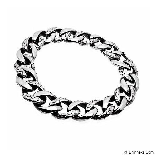MEN'S JEWELRY Two Tone Carved Bracelet Titanium Steel [CTB201405-NV14] - Silver - Gelang Pria