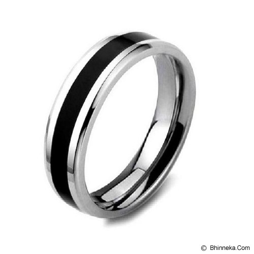 MEN'S JEWELRY Two Tone Ring Titanium Steel Size 7 [TTR071703-DC14] - Silver - Cincin Pria