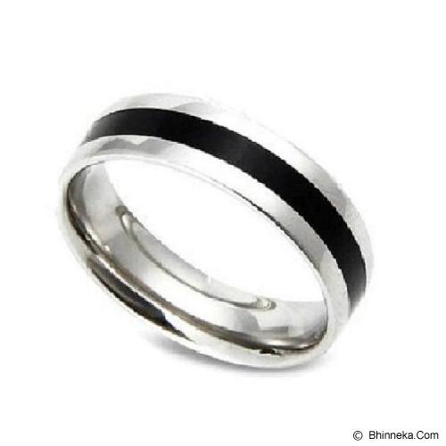 MEN'S JEWELRY Two Tone Ring Titanium Steel Size 9 [TTR102003-JN15] - Silver - Cincin Pria