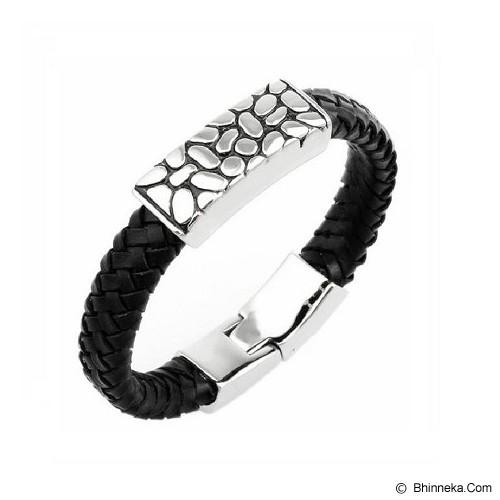 MEN'S JEWELRY Urban Genuine Leather Bracelet Titanium Steel [LTB211705-NV14] - Black - Gelang Pria