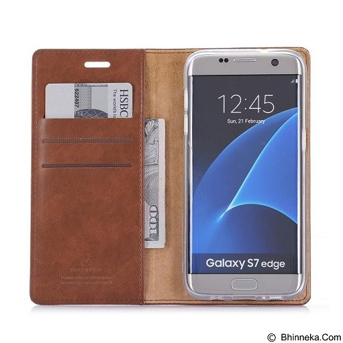 MERCURY Bluemoon Flip Case Samsung Galaxy S7 Edge - Brown (Merchant) - Casing Handphone / Case