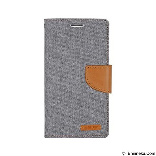 MERCURY Canvas Diary Case LG K10 Flip Cover - Grey (Merchant) - Casing Handphone / Case