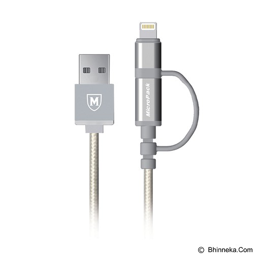 MICROPACK 2in1 Data and Cable MFI [2.4Ah] - Grey (Merchant) - Cable / Connector Usb