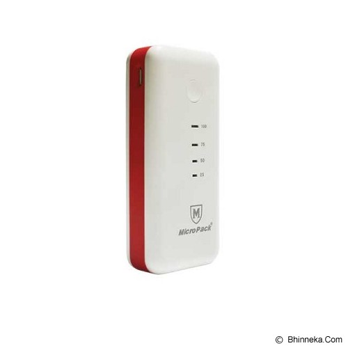 MICROPACK Powerbank 5200mAh [P5200] - White/Red - Portable Charger / Power Bank