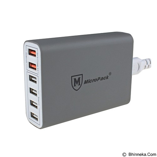 MICROPACK USB Charger With Quick Charge 2.0 Technology [MUC-6SQ] - Grey (Merchant) - Universal Charger Kit