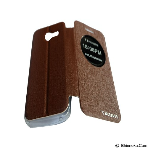 AIMI Flipcover Fitur View for Asus Zenfone 4 AC400CG - Brown (Merchant) - Casing Handphone / Case