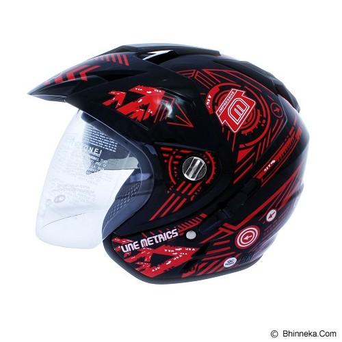 MSR Helmet Impressive Line Matrics Size L - Black Red - Helm Motor Half Face
