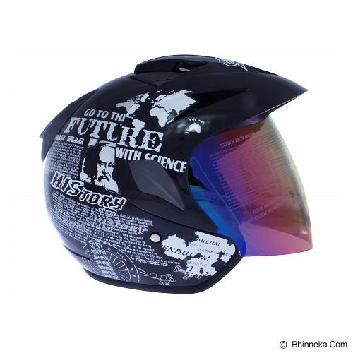 MSR Helmet Thunder History Size XL - Hitam Putih - Helm Motor Half Face