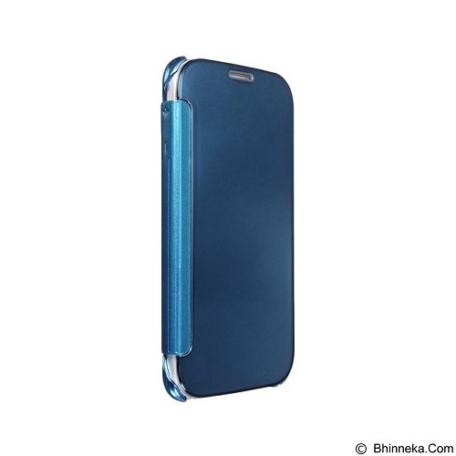 Mirror Wallet View Flip Cover Samsung Galaxy S6 Edge - Blue (Merchant) - Casing Handphone / Case