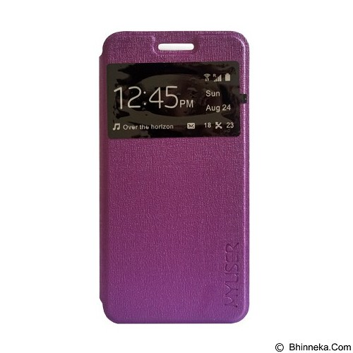Myuser Flip Cover for Andromax E2 - Purple (Merchant) - Casing Handphone / Case