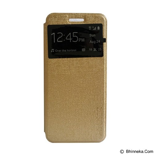 Myuser Flip Cover for Andromax EC - Gold (Merchant) - Casing Handphone / Case