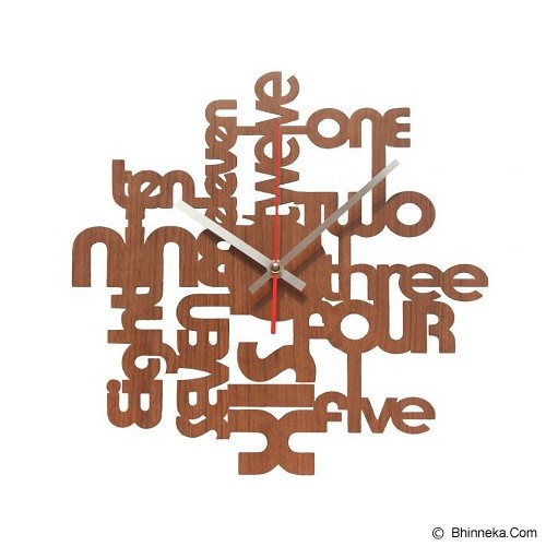 NAIL YOUR ART Jam Dinding Artistik One-Two-Three II Brown [NYA131203] - Artistic Wall Clock - Jam Dinding