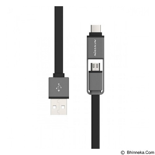 NILLKIN Dual Sync & Charge Cable Micro USB Plus USB Type C 120cm - Black (Merchant) - Cable / Connector Usb