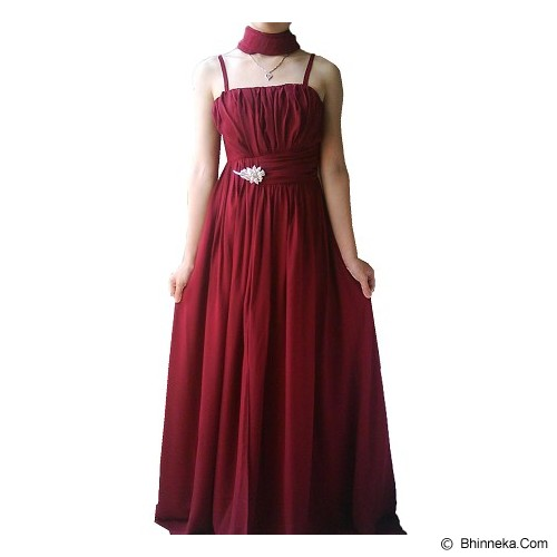 NOCHI SHOP Gaun Pesta Premium Size XL [D1508] - Maroon - Maxi Dress Wanita