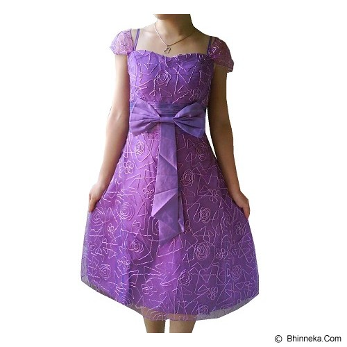 NOCHI SHOP Gaun Pesta Satin Modif Bordir All Size [D1316] - Light Purple - Midi Dress Wanita