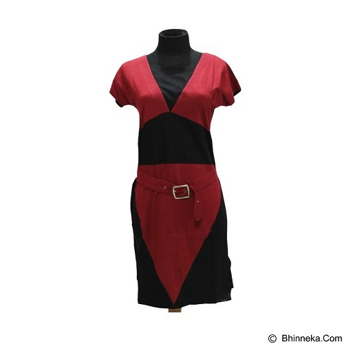 NOPE USA MADE Dress Sabuk Lengan Pendek Size XL [LD 010] - Red - Midi Dress Wanita