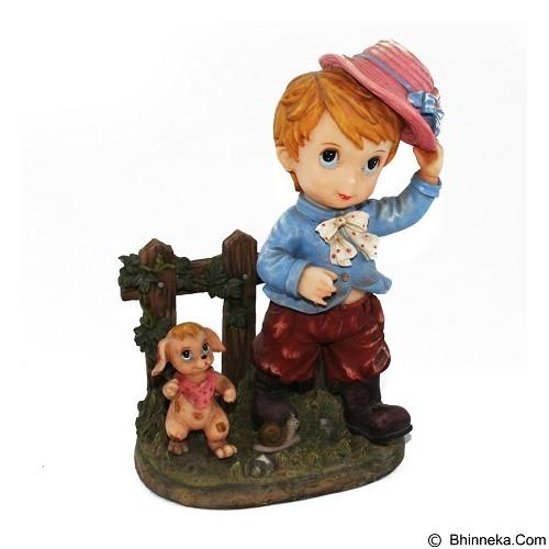 OHOME Pajangan 3D Vintage Keramik Boy Puppy Hat [EV-SP-2201-A] (Merchant) - Pajangan Meja