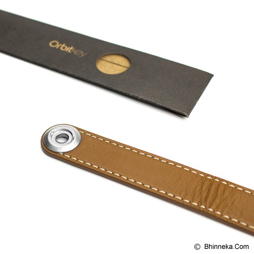 ORBITKEY Leather Stitching - Tan/White - Gantungan Kunci Pria