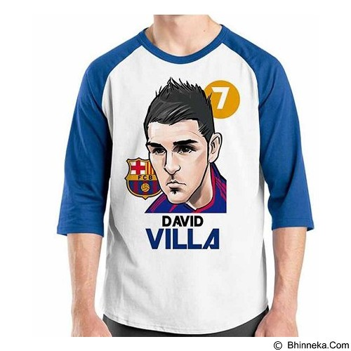 ORDINAL Raglan Football Player David Villa Size M (Merchant) - Kaos Pria
