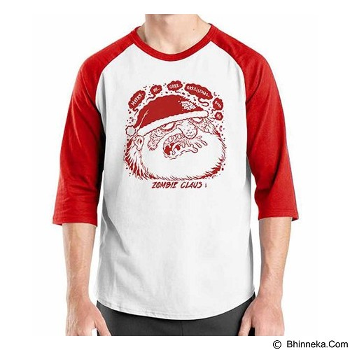 ORDINAL Raglan Christmas Zombie Claus Size ML (Merchant) - Kaos Pria