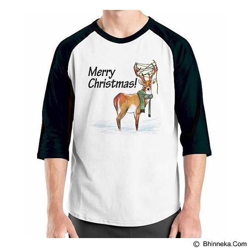 ORDINAL Raglan Christmas Deer 02 Size S (Merchant) - Kaos Pria