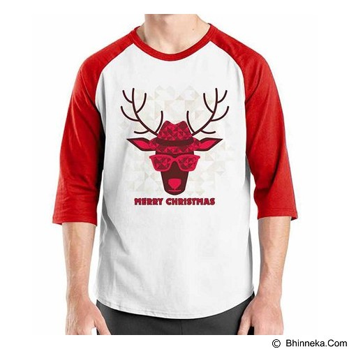 ORDINAL Raglan Christmas Deer 08 Size ML (Merchant) - Kaos Pria