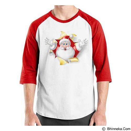 ORDINAL Raglan Christmas Funny Santa 01 Size L (Merchant) - Kaos Pria