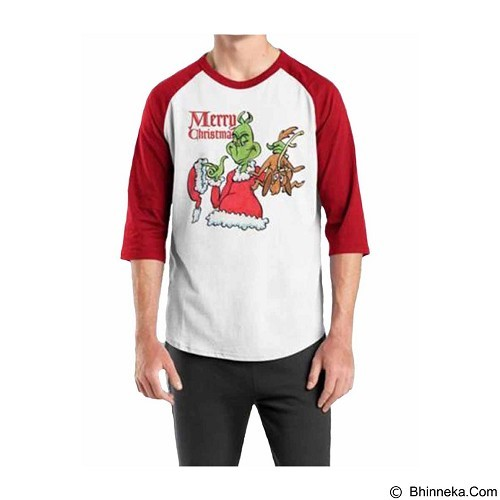 ORDINAL Raglan Christmas Grinch 01 Size ML (Merchant) - Kaos Pria