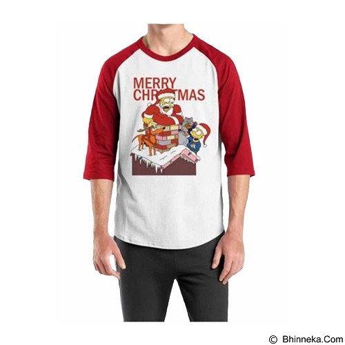 ORDINAL Raglan Christmas The Simpsons 01 Size ML (Merchant) - Kaos Pria