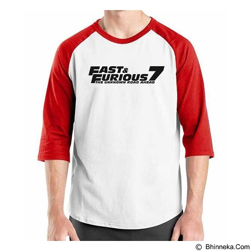 ORDINAL Raglan Fast and Furious 7 Logo 02 Size XL (Merchant) - Kaos Pria