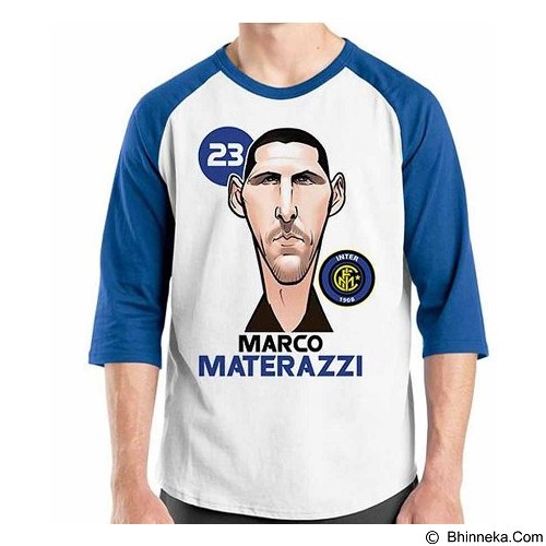 ORDINAL Raglan Football Player Materazzi Size ML (Merchant) - Kaos Pria