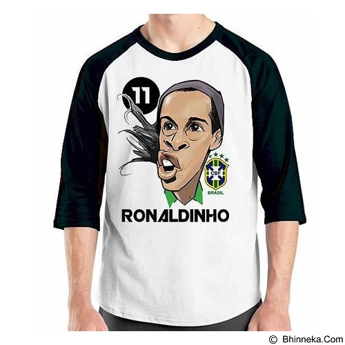 ORDINAL Raglan Football Player Ronaldinho Size XL (Merchant) - Kaos Pria