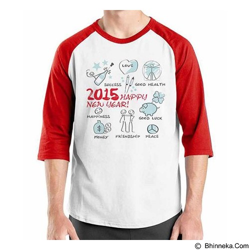 ORDINAL Raglan Happy New Year 05 Size ML (Merchant) - Kaos Pria