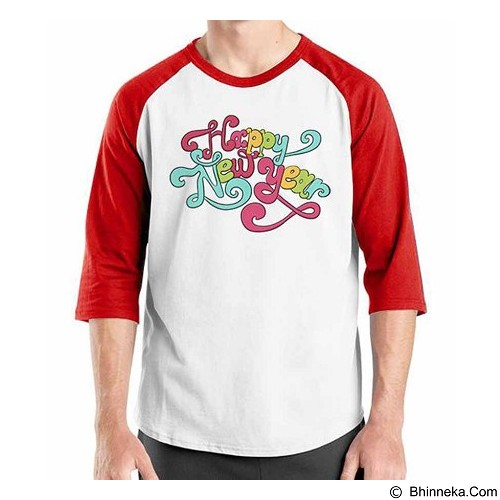 ORDINAL Raglan Happy New Year 07 Size XL (Merchant) - Kaos Pria