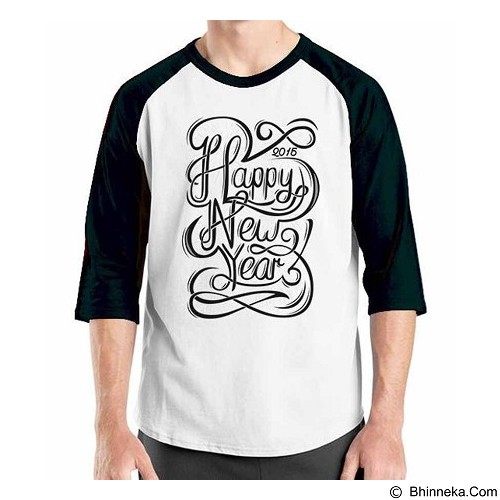 ORDINAL Raglan Happy New Year 08 Size M (Merchant) - Kaos Pria
