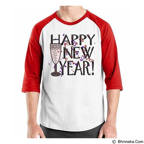 ORDINAL Raglan Happy New Year 12 Size S (Merchant) - Kaos Pria