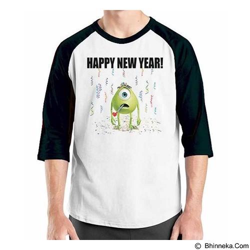 ORDINAL Raglan Happy New Year Monster Size L (Merchant) - Kaos Pria