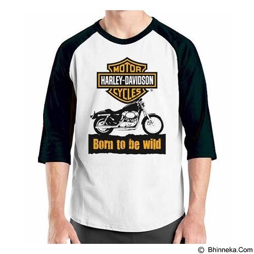 ORDINAL Raglan Harley Davidson Born To Wild Size S (Merchant) - Kaos Pria