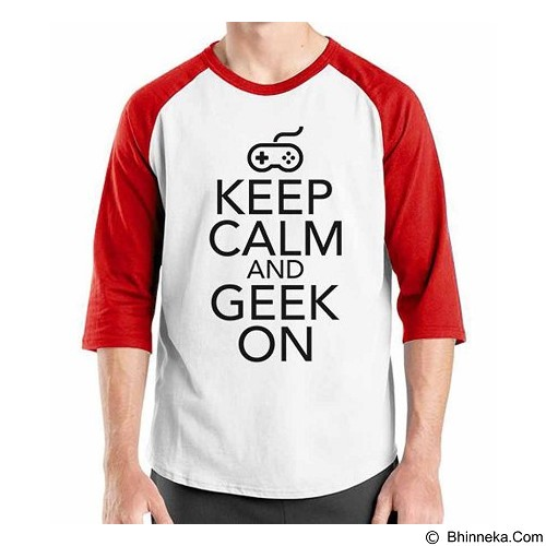 ORDINAL Raglan Keep Calm and Geek On Size XL (Merchant) - Kaos Pria