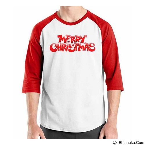ORDINAL Raglan Merry Christmas 02 Size XL (Merchant) - Kaos Pria