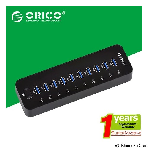 ORICO 10 port USB 3.0 Hub [ORICO-P10-U3-Hitam] - Black - Cable / Connector Usb