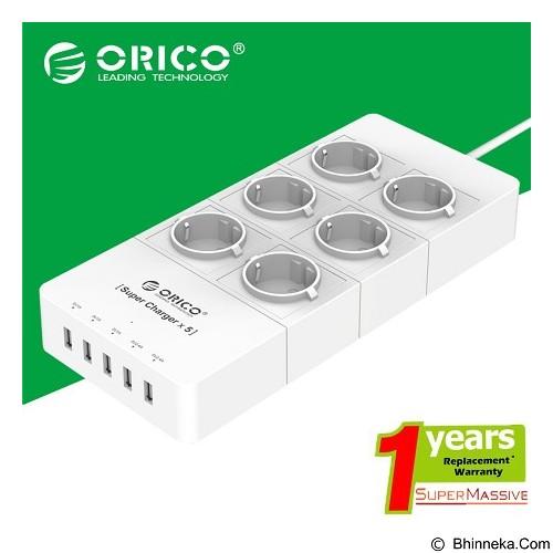 ORICO 5 Ports USB Charger + 6 Socket Listrik Universal [ORICO-HPC-6A5U-Putih] - White - Stop Kontak Out Bow