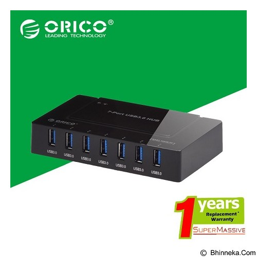 ORICO 7 Ports USB 3.0 Hub [ORICO-H9978-U3-7port-BLACK] - Black (Merchant) - Cable / Connector Usb
