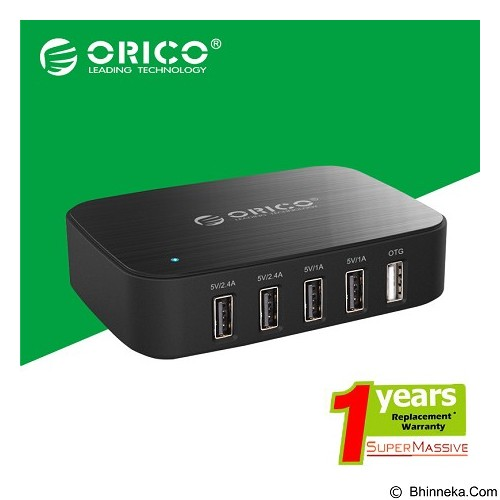 ORICO USB Charger with OTG Port [ORICO-DCT-5U-Black] - Black - Universal Charger Kit