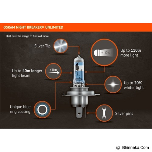 OSRAM H4 NBR Unlimited / Nightbreaker Unlimited - Lampu Mobil