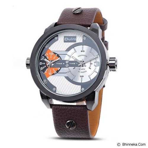 OULM Dual Time Watch For Men [3221] - Brown - Jam Tangan Pria Fashion