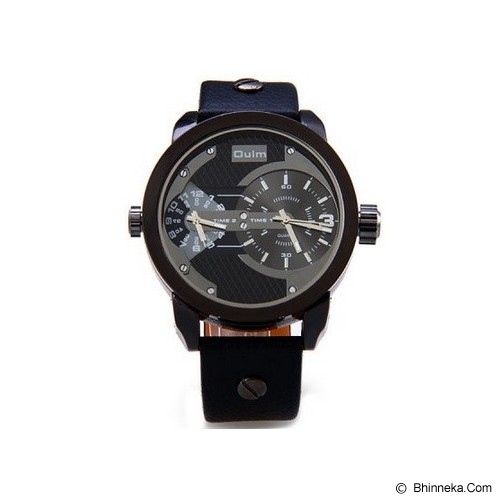 OULM Dual Time Watch For Men [3221] - Black - Jam Tangan Pria Fashion