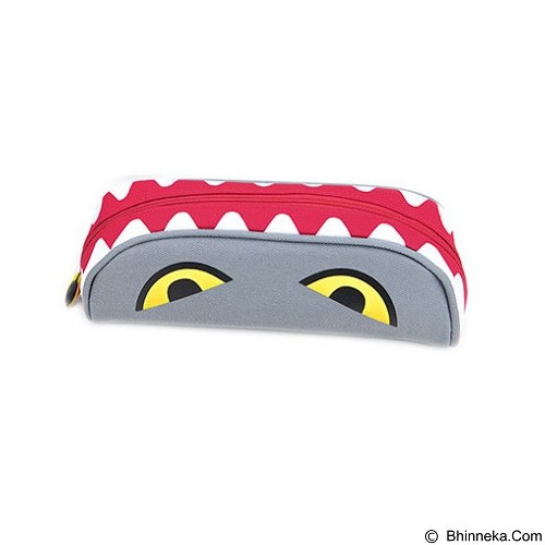 PINKABULOUS Biting Monster Canvas Pencil Case - Grey (Merchant) - Tempat Pensil